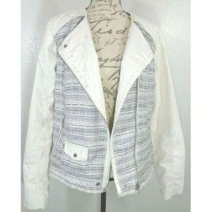 Cream Faux Leather Tweed Asymmetric Zip-up Jacket